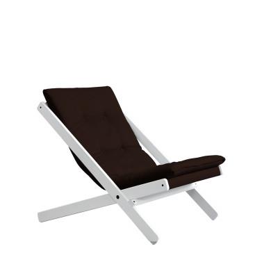Stuhl Boogie | Weißes Gestell & braune Sitzfläche