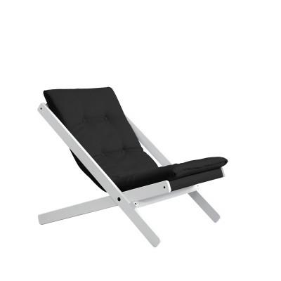 Stuhl Boogie | Weißes Gestell & dunkelgraue Sitzfläche
