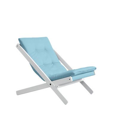 Stuhl Boogie | Weißes Gestell & hellblaue Sitzfläche