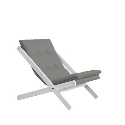 Stuhl Boogie | Weißes Gestell & graue Sitzfläche