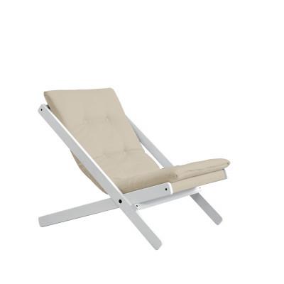 Stuhl Boogie | Weißes Gestell & beige Sitzfläche