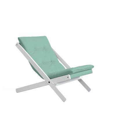 Stuhl Boogie | Weißes Gestell & mintblaue Sitzfläche