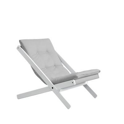 Stuhl Boogie | Weißes Gestell & hellgraue Sitzfläche