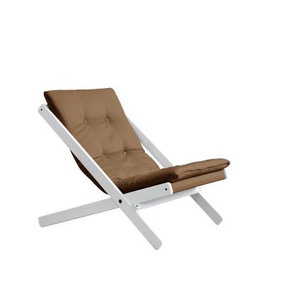 Stuhl Boogie | Weißes Gestell & Mocca Sitzfläche