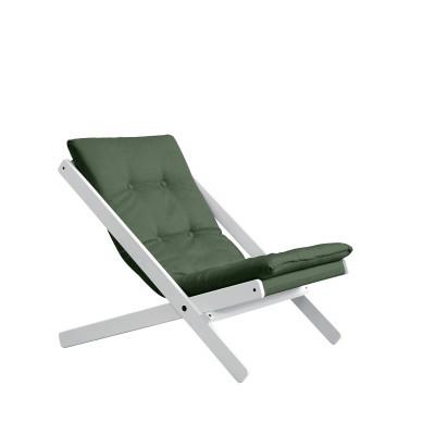 Stuhl Boogie | Weißes Gestell & olivgrüne Sitzfläche