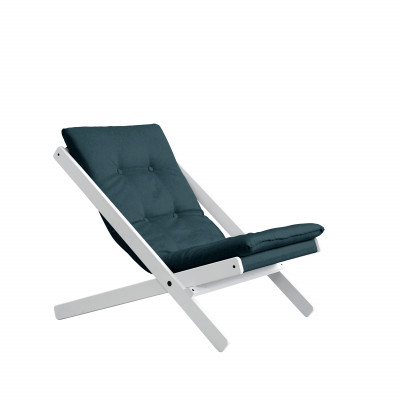Stuhl Boogie | Weißes Gestell & benzinblaue Sitzfläche