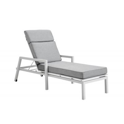 Liegestuhl Belfort | Weiß & Grau