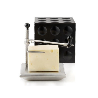Cheese Box with Slicer | Black & Steel