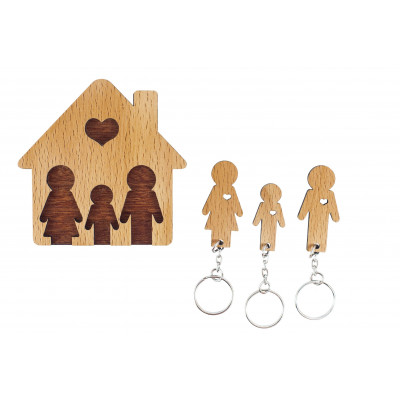 Keyholder with Set of Keychains   Family with Son