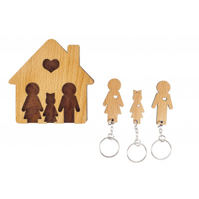 Keyholder with Set of Keychains   Family with Daughter