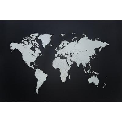 Luxus-Weltkarte aus Holz 130 x 78 cm   Weiß