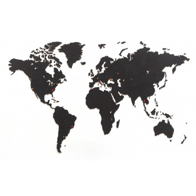 Luxus-Weltkarte Wanddekoration + Puzzle   Schwarz