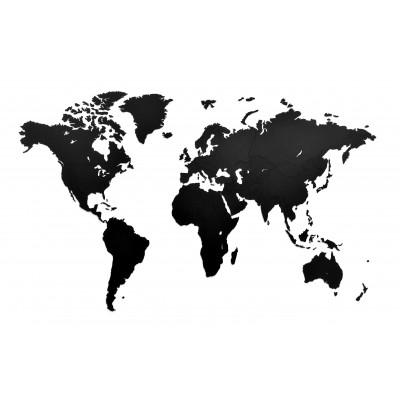 Luxus-Weltkarte aus Holz 130 x 78 cm   Schwarz