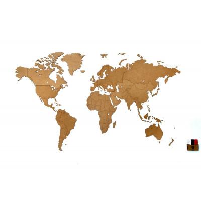 Luxus-Weltkarte aus Holz 130 x 78 cm   Natur