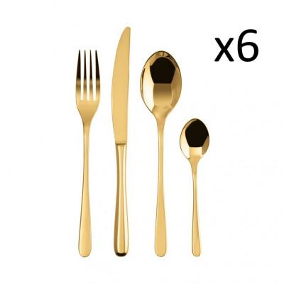 Besteck Set mit 24 Stücke Taste | Edelstahl Gold
