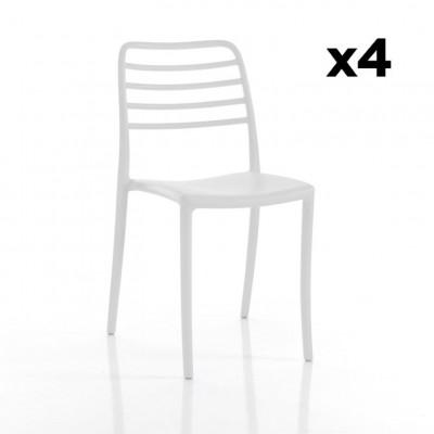 4-er Set Stühle Innen / Außen Jonas | Weiß