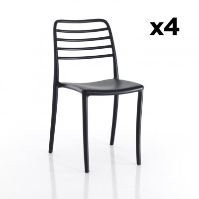 4-er Set Stühle Innen / Außen Jonas | Schwarz
