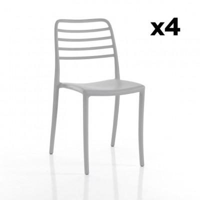 4-er Set Stühle Innen / Außen Jonas | Grau