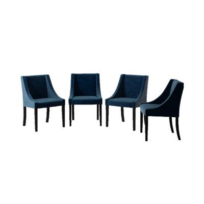 4er-Set Esszimmerstühle Creativity Velvet | Marineblau