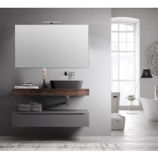 Wall Mirror with Light 120 cm   Grey
