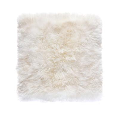 Quadratischer Schafwollwollteppich 70 cm   Weiß