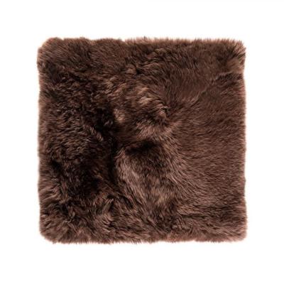Quadratischer Schafwollteppich 70 cm   Braun