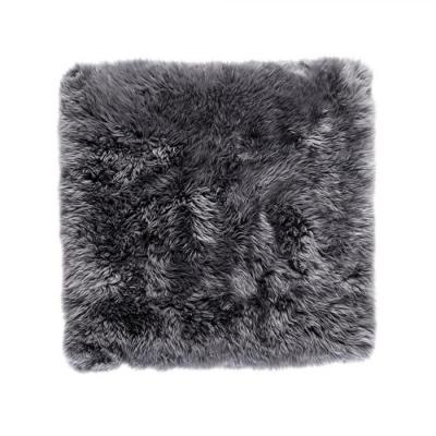 Quadratischer Schafwollwollteppich 70 cm   Grau