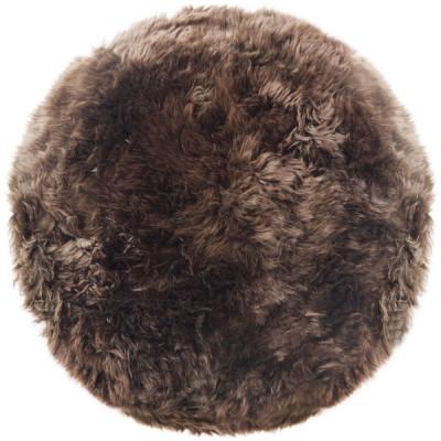 Runder Schafwollteppich 70 cm    Taupe