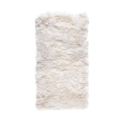 Rechteckiger Schafwollwollteppich 140 cm   Weiß