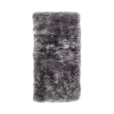 Rechteckiger Schafwollwollteppich 140 cm | Grau
