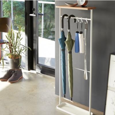 Schirmständer mit Holzaufsatz | Weiß
