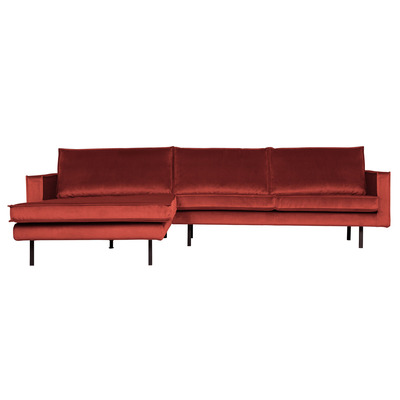 Chaise Longue Links Rodeo Samt | Kastanie