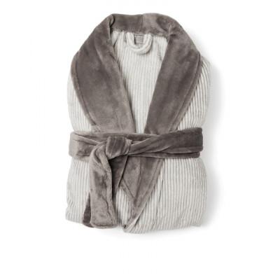 Flanell-Bademantel Sens | Grau/Weiß