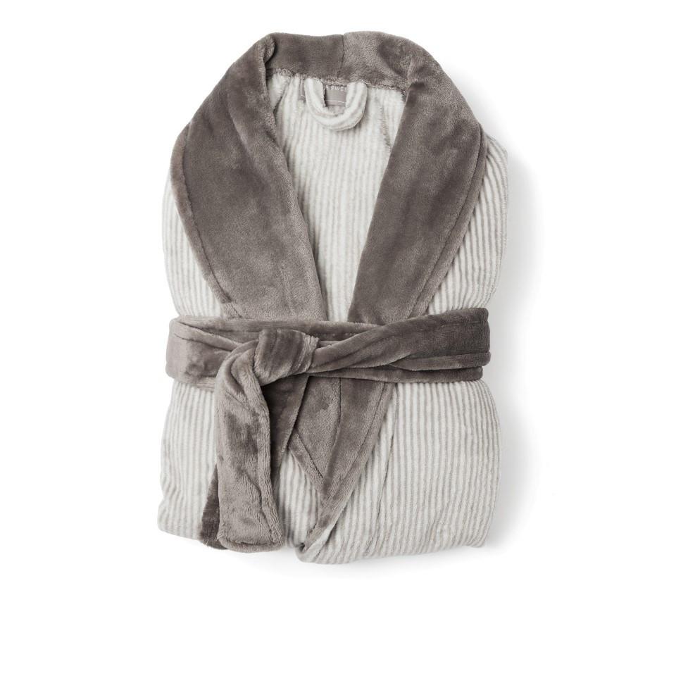 Flanell-Bademantel Sens   Grau/Weiß