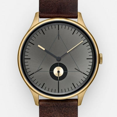 The Architect Analog Watch   PVD Gold, Dark Brown Leather Strap