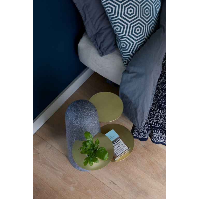 BoBo Sidetable | Black with Wooden Leaves