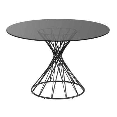 Runder Glastisch Niut   Ø 120 cm Schwarz Finish Stahlbeine