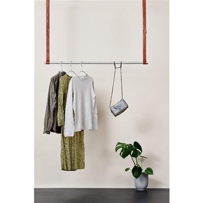 Clothes Rack Leatherish I Silver-Dark Brown