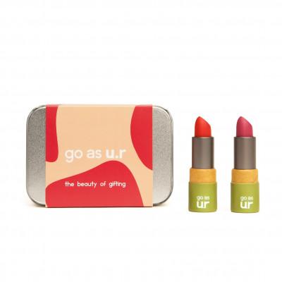 Geschenk Box Klein 2 cremige Lippenstifte   Adrenaline Red & Poppy Pink