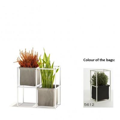 Modulares Pflanzengestell 4x Weiß + 2 Anthrazit Taschen