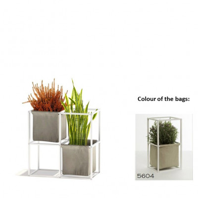 Modulares Pflanzengestell 4x Weiß + 2 beige Taschen