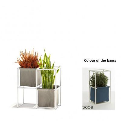 Modulares Pflanzengestell 4x Weiß + 2 blaue Taschen