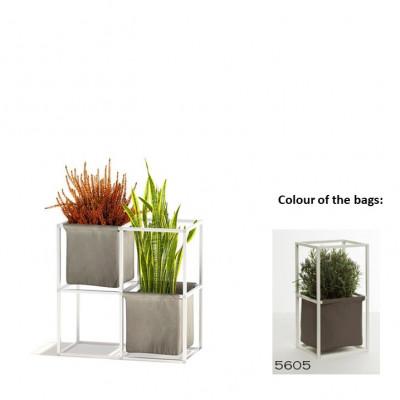 Modulares Pflanzengestell 4x Weiß + 2 braune Taschen