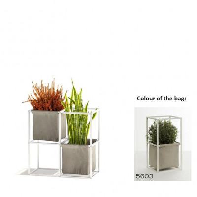 Modulares Pflanzengestell 4x Weiß + 2 hellgraue Taschen