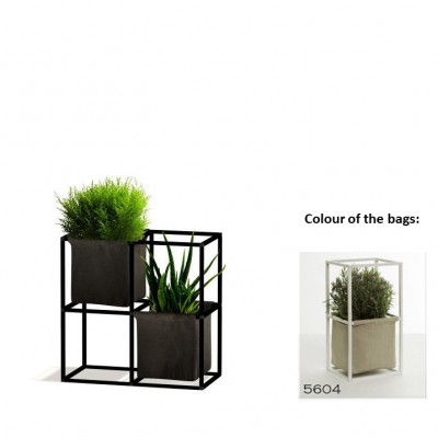 Modulares Pflanzengestell 4x Schwarz + 2 beige Taschen