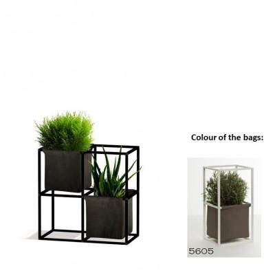 Modulares Pflanzengestell 4x Schwarz + 2 braune Taschen