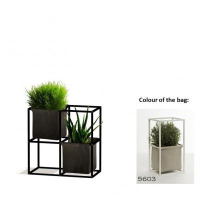 Modulares Pflanzengestell 4x Schwarz + 2 hellgraue Taschen