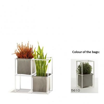 Modulares Pflanzengestell 4x Weiß + 2 graue Taschen