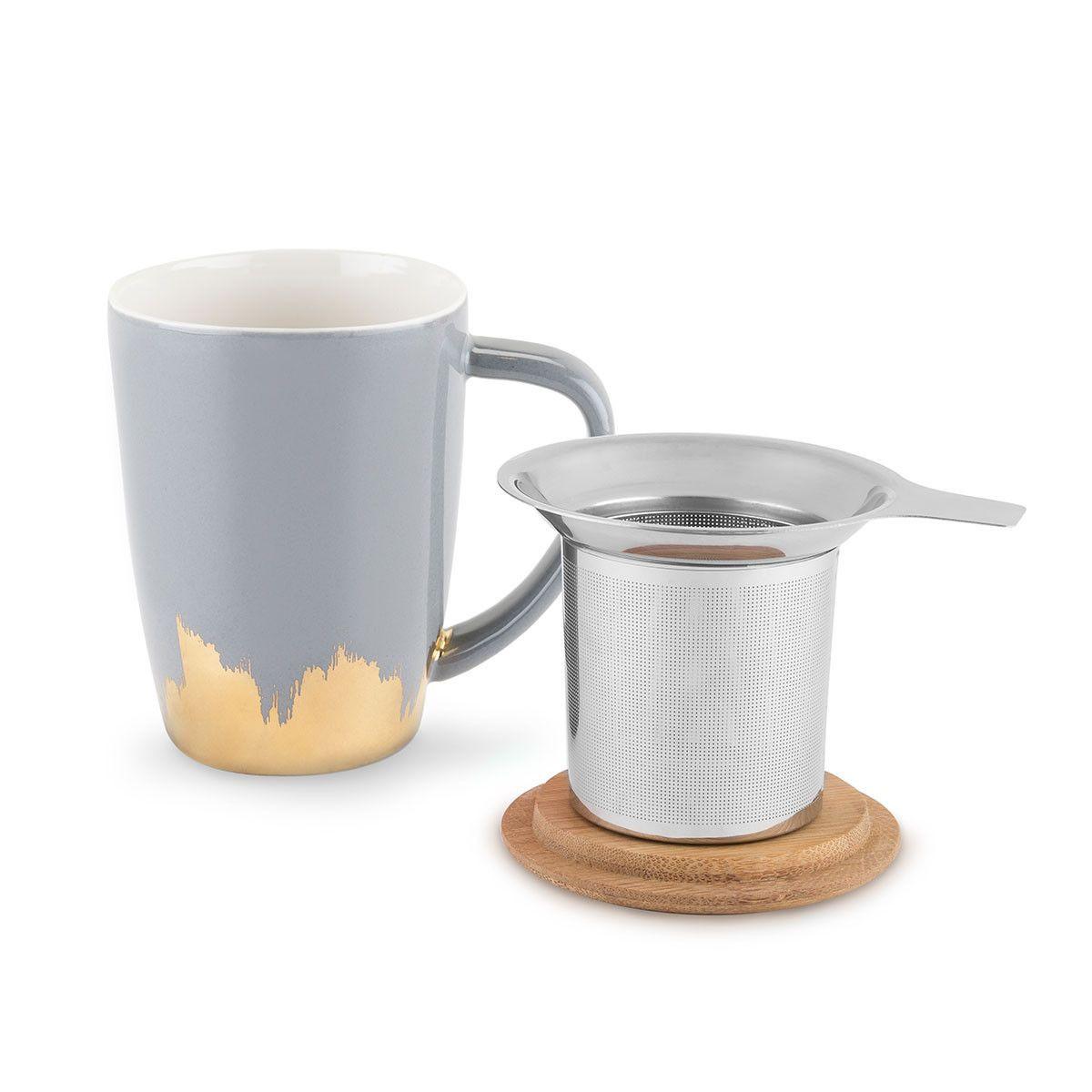 Bailey Grau & Gold getauchte Keramik-Teebecher und Infusionshilfe