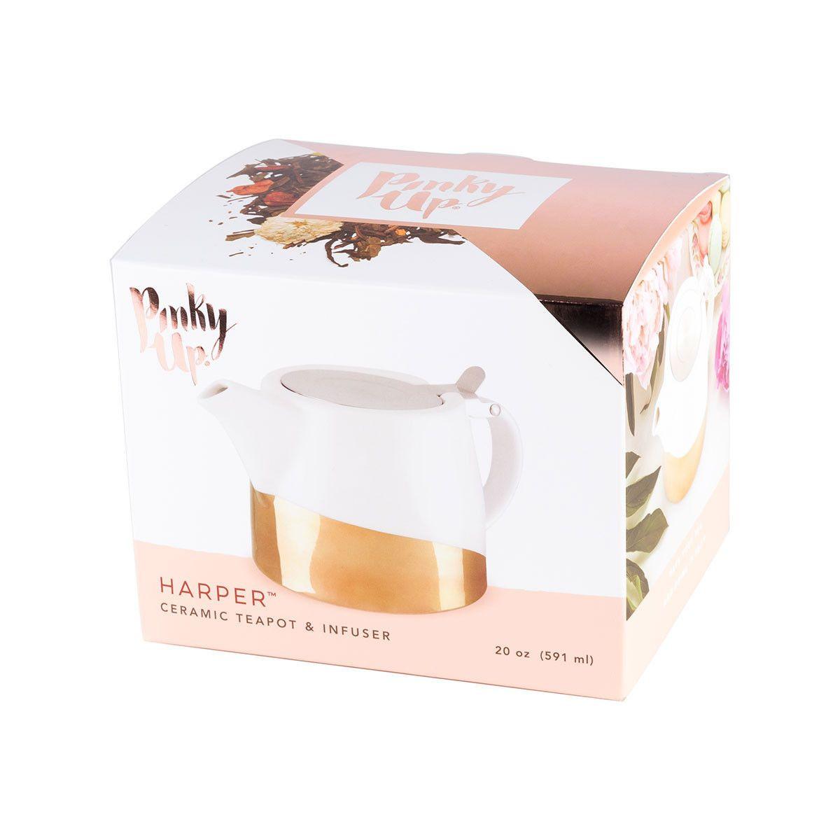 Harper Gold Dipped Ceramic Teekanne & Infuser